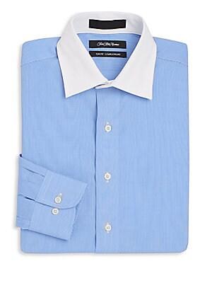 Slim-Fit Contrast-Collar Striped Dress Shirt