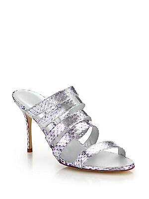 Sifi Metallic Snakeskin Mule Sandals