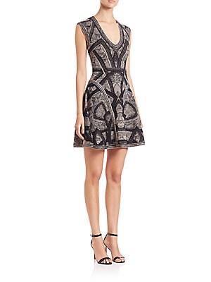 Sleeveless Jacquard Fit-&-Flare Dress