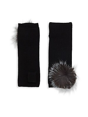 Fox Fur Pom-Pom Honeycomb-Knit Cashmere Fingerless Gloves