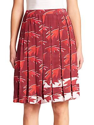 Celia Sparrow-Print Silk Pleated Skirt