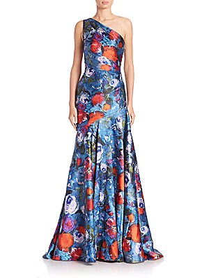 One-Shoulder Poppy-Print Gown