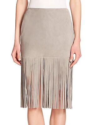 Mimi Suede Fringe Skirt