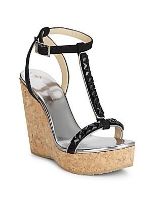 Embellished Suede T-Strap Wedge Sandals