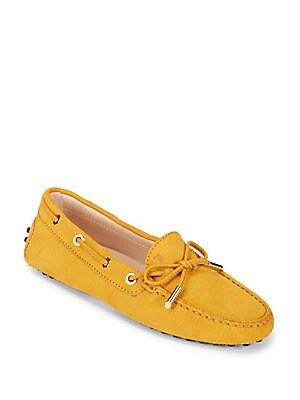 Tie Front Leather Driving Loafers