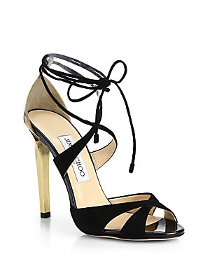 Teira Suede & Patent Leather Lace-Up Sandals