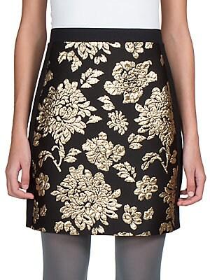 Floral Brocade-Front Skirt