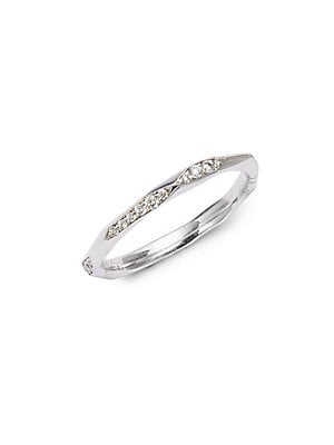 Click here for Diamond & 18k White Gold Faceted Stacker Ring prices