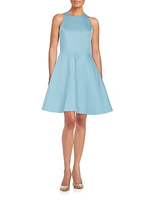 Asymmetrical Seamed Fit-And-Flare Dress