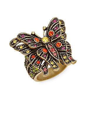 Madame Butterfly Swarovski Crystal Multicolored Rhinestone Ring