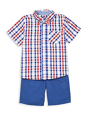 Toddler Boy's Three-Piece Plaid Shirt, Shorts & Bow Tie Set
