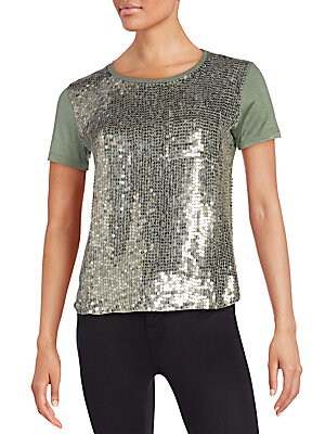 Rosalyn Sequined-Front Tee