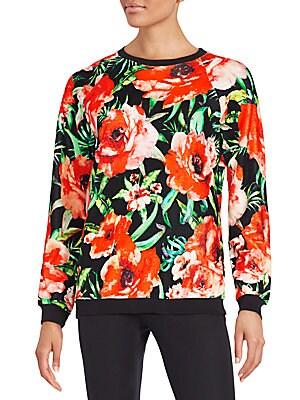 Floral-Print Velvet Top