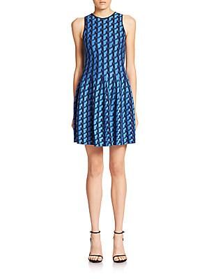 Jacquard Puzzle-Print Flared Dress