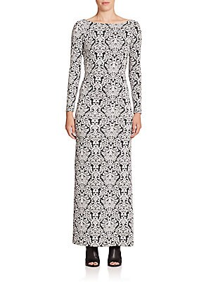 Printed Scoopback Maxi Dress