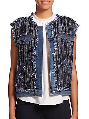 Boho Fringed Tweed Vest