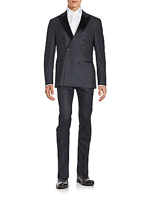 Double-Breasted Wool-Blend Suit