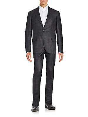Wool-Blend Windowpane Suit
