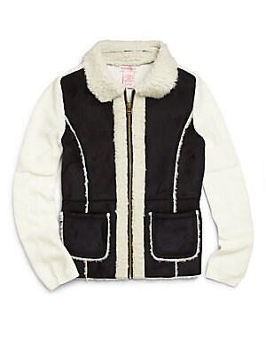 Girl's Faux Shearling Sweater Jacket