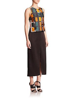 Layered Jacquard Maxi Dress