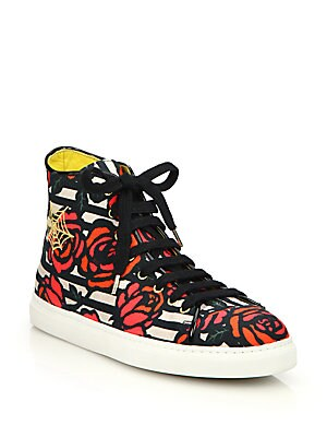 Rose-Print Embroidered High-Top Sneakers