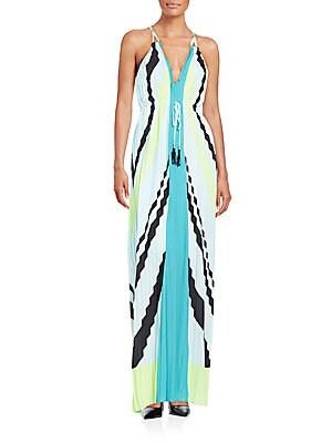 Chevron Patterned Maxi Dress