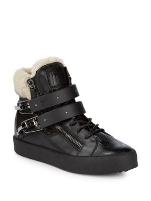 Leather Shearling Trim Sneakers