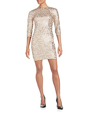 Three-Quarter Sleeve Sequin Dress