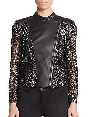 Eyelet Leather Moto Jacket