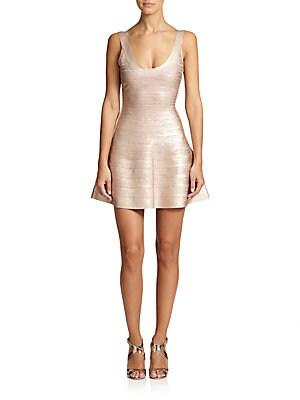 Eva Flared Metallic Bandage Dress