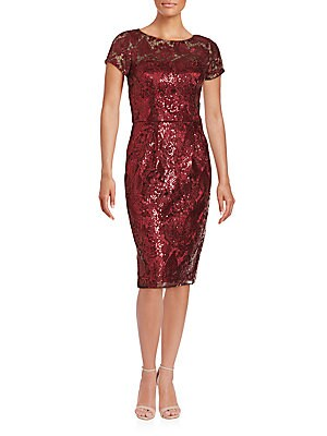 Short Sleeve Sequined Sheath Dress
