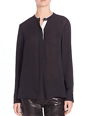 Contrast Back Pleat Silk Top