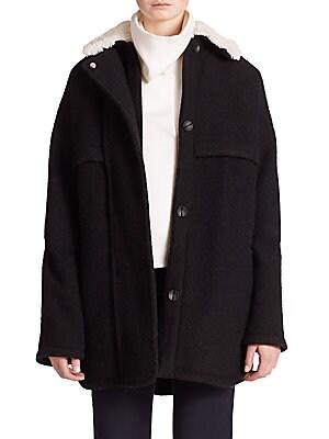 Morgane Faux Fur Bonded Wool Coat