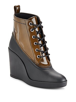 Lace-Up Wedge Ankle Boots