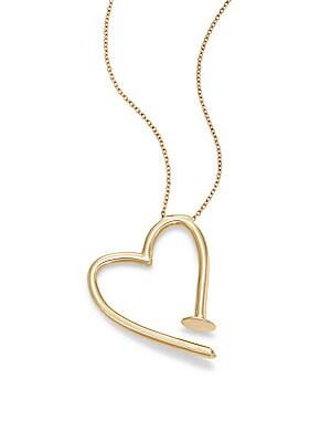 Bent Nail Heart Pendant Necklace/Goldtone