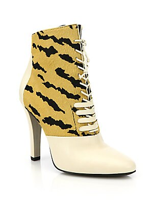 Harleth Striped Calf Hair & Leather Lace-Up Booties