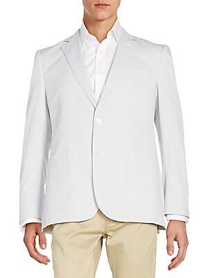 Regular-Fit Striped Cotton Blazer