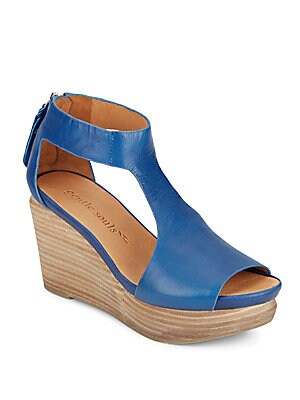 Juniper Tea Cutout Leather Wedge Sandals