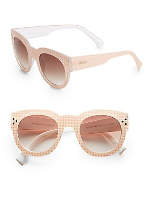 50MM Gingham Round Sunglasses