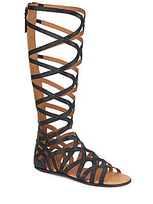 Make Or Break Embossed Leather Tall Gladiator Sandals
