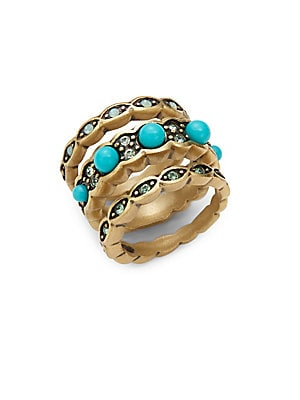 Trio Turquoise Goldtone Stackable Ring