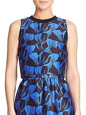 Morley Leaf-Print Cotton & Silk Cropped Top