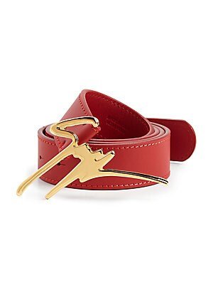 Leather GZ Logo Buckle Belt