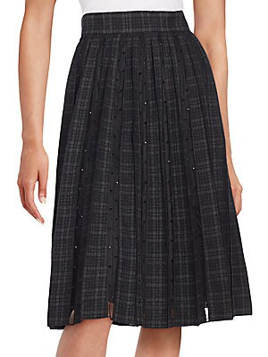 marc jacobs female pleated wool sheerpanel midi skirt
