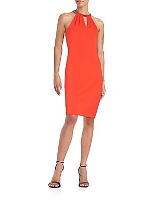 Bead-Neck Sheath Dress