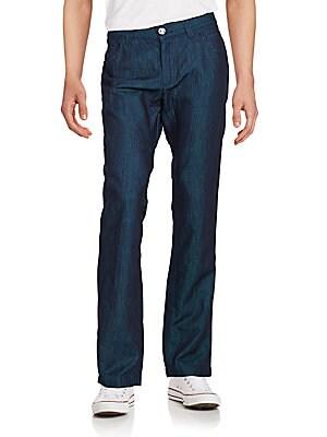 Cotton & Linen Blend Straight-Leg Jeans