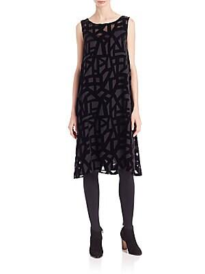 Velvet-Detail Dress