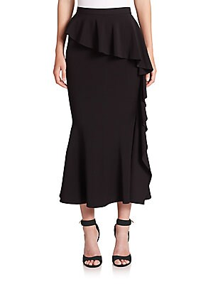 Layered Ruffle Midi Skirt