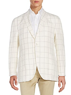 Regular-Fit Windowpane Cotton & Linen-Blend Sportcoat