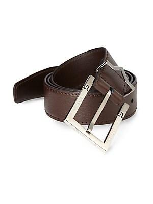Textured Leather Logo Belt